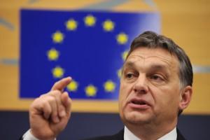 Hungarian Prime Minister Viktor Orban gestures during a media conference in the European Parliament in Strasbourg, France, 18 January 2012. Orban coolly acknowledged international concern over his domestic reforms, saying that fixing what led the European Union to launch high-profile legal proceedings against Budapest 'will not pose a problem.' EPA/PATRICK SEEGER